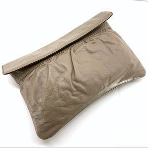Tan Genuine Leather Large Clutch Snap Closure 13x9